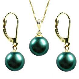 Set Aur 14 k cu Perle Naturale Verde Smarald - Cadouri si Perle