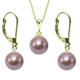 Set Aur 14 k cu Perle Naturale Lavanda - Cadouri si Perle