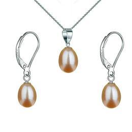 Set Argint 925 si Perle Naturale Teardrops Crem - Cadouri si Perle