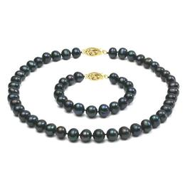 Set Aur 14k si Perle Naturale Negre Mari - Cadouri si Perle