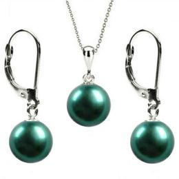 Set Aur Alb 14 k cu Perle Naturale Verde Smarald - Cadouri si Perle