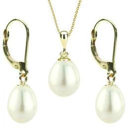Set Aur 14k si Perle Naturale Teardrops Albe - Cadouri si Perle