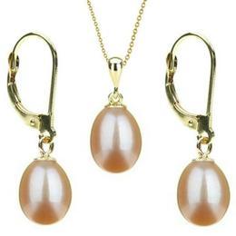 Set Aur 14k si Perle Naturale Teardrops Crem - Cadouri si Perle