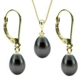 Set Aur 14k si Perle Naturale Teardrops Negre - Cadouri si Perle