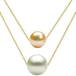 Colier Dublu Aur 14 karate si Perle Naturale Premium Crem si Albe - Cadouri si Perle