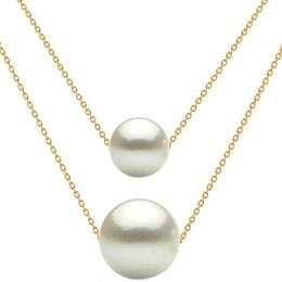 Colier Dublu Aur 14 karate si Perle Naturale Premium Albe - Cadouri si Perle