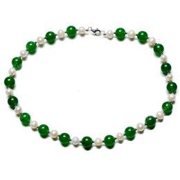 Colier Jad Verde si Perle - Cadouri si Perle