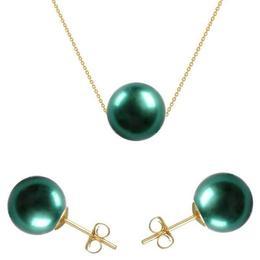 Set Aur 14 karate cu Perle Naturale Premium Verde Smarald - Cadouri si Perle