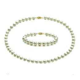 Set Aur de 14 karate cu Perle Naturale Albe, de Colectie - Cadouri si Perle