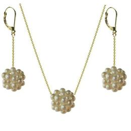 Set Aur Bulgaras cu Perle Naturale Albe - Cadouri si Perle