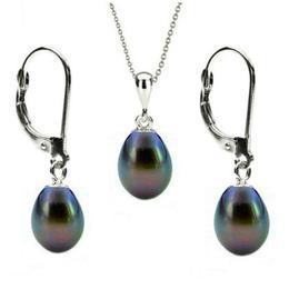 Set Aur Alb 14k si Perle Naturale Teardrops Negre - Cadouri si Perle