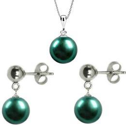 Set Aur Alb de 14 karate cu Perle Naturale Premium Verde Smarald - Cadouri si Perle