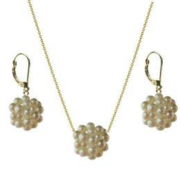 Set Aur si Bulgarasi cu Perle Naturale Albe - Cadouri si Perle
