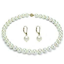 Set Business Colier si Cercei Aur 14k si Perle Premium - Cadouri si Perle