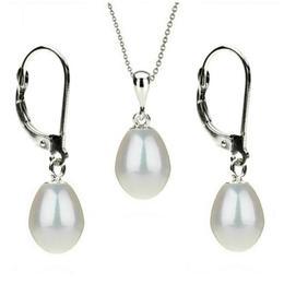 Set Aur Alb 14k si Perle Naturale Teardrops Albe - Cadouri si Perle