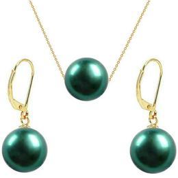 Set Aur Galben 14 karate cu Perle Naturale Premium Verde Smarald - Cadouri si Perle