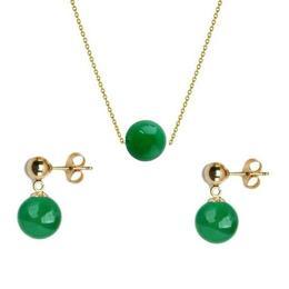 Set Aur si Jad Natural Malaesian de 8 mm - Cadouri si Perle