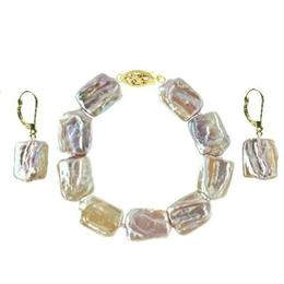 Set Aur 14k Bratara si Cercei Perle Naturale Baroque - Cadouri si Perle