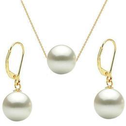 Set Aur Galben 14 karate cu Perle Naturale Premium Albe - Cadouri si Perle