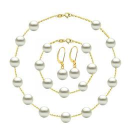 Set Office Aur de 14 k si Perle Naturale Premium de 8 mm - Cadouri si Perle