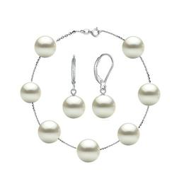 Set Office Bratara si Cercei Argint 925 si Perle Naturale Premium de 8 mm - Cadouri si Perle