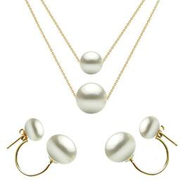 Set Dublu din Aur 14 karate si Perle Naturale Premium Albe - Cadouri si Perle