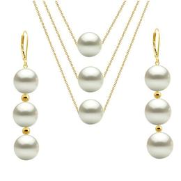 Set Triplu Aur de 14 karate si Perle Naturale Albe Premium - Cadouri si Perle