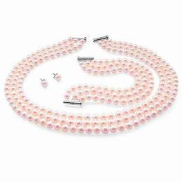 Set Triplu Perle Naturale de Cultura Roz - Cadouri si Perle