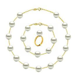 Set Office din Aur de 14 k cu Perle Naturale Premium - Cadouri si Perle