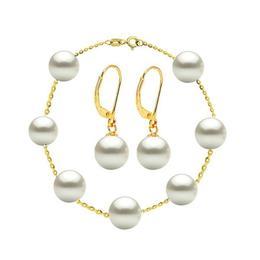 Set Office Bratara si Cercei Aur 14 k si Perle Naturale Premium - Cadouri si Perle