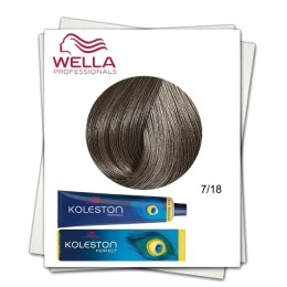 Vopsea Permanenta - Wella Professionals Koleston Perfect nuanta 7/18 blond mediu cenusiu perlat